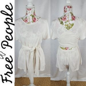 FREE PEOPLE 100% Cotton Cream Cross Tie Romper